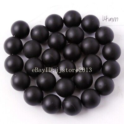 14mm Natural Frosted Black Agate Onyx Round Shape Gem DIY Loose Beads Strand 15""