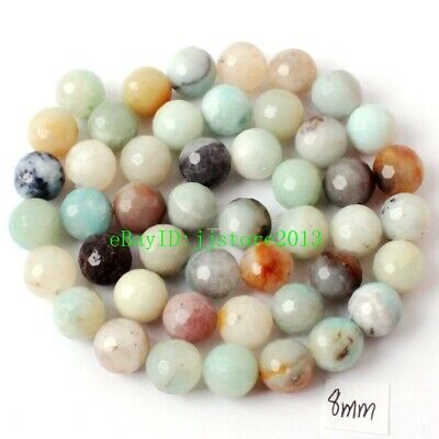"""8mm Natural Multicolor Amazonite Faceted Round Shape Gems Loose Beads Strand 15"""""""