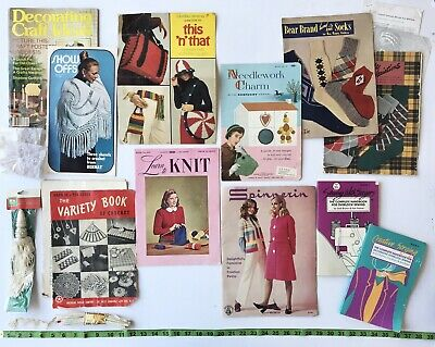 LOT of VTG 1950s 1980 Knit Sewing Craft Books Magazines Leaflets Needlework MISC
