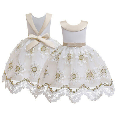 Embroidery Flower Girls Kids Lace Dress Princess Prom Birthday Christmas Party