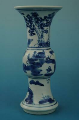 chinese old hand-made Blue & White porcelain vase Hand painted landscape  b02