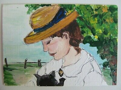 ACEO Original Acrylic Painting Portrait of a Lady with Cat by Melinda Kordich