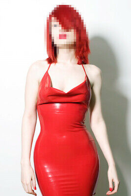 100% Latex Damen Red Ärmel Sexy Women Niedriger Brustkorb Size 0.4mm S-XXL