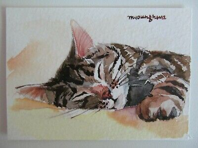 ACEO ORIGINAL Watercolor Cat Naptime Kitty Tabby Sleeping by Artist Anna Lee