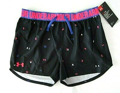 Under Armour Girls Large Black Loose Fit heatgear Athletic Track Shorts