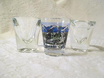 Lot 3 Vintage Shot Glasses Colorado State 2 Heavy Thick Glass