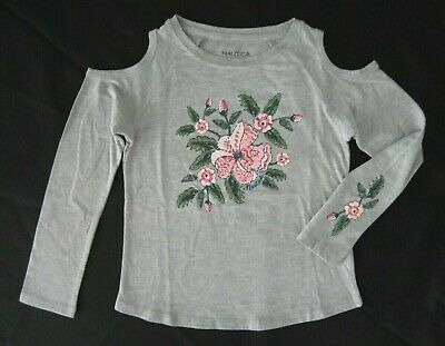 Nautica Girls Long Sleeve Cold Shoulder Light Grey Heather Floral Graphic Tee