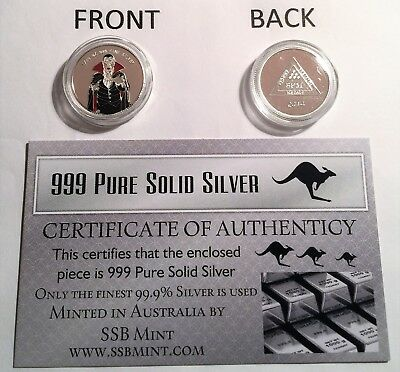 """2014 Coloured """"DRACULA"""" 1/10th OZ 999.0 Pure Solid Silver Coin with C.O.A."""