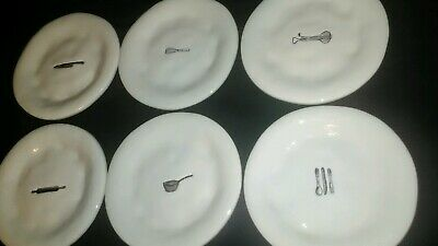 "Set of 6 Vintage Rae Dunn by Magenta Utensils Icon Appetizer Dessert 6"" Plates"