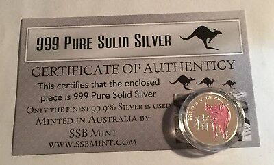 """2019 """"Year Of The Pig"""" 1/10th OZ 999 Pure Solid Silver Coin with C.O.A. Zodiac"""