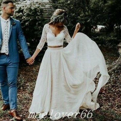 2019 Beach Boho Wedding Dresses Long Sleeves A Line Chiffon Lace Princess gowns