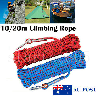 10/20M Climbing Rope Outdoor Safty Mountain Rescue Escape Rappelling Cord AU