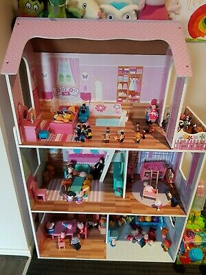 Doll House Large Open Front 3 Levels Wooden 13 pc's Furniture Pretend Play