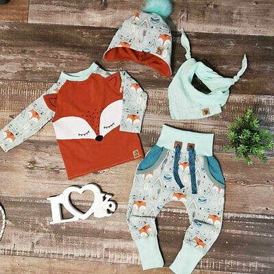 UK Newborn Baby Boy Girl Fox Tops + Pants + Hat Autumn Winter Cotton Clothes Set