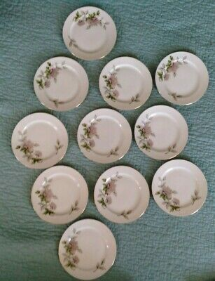 Seyei Peony #2104 Lot of 11 Bread and Butter Plates Fine China Japan Gold Trim