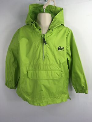 Childs Next Lime Green 1/4 Zip Hooded Pullover Lightweight Jacket Coat Age 3-4