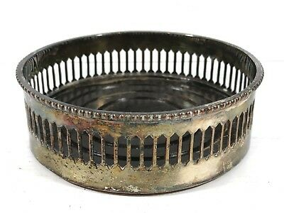 Antique Silver Plated / Wooden Base PLANT POT HOLDER STAND - 12cm Wide