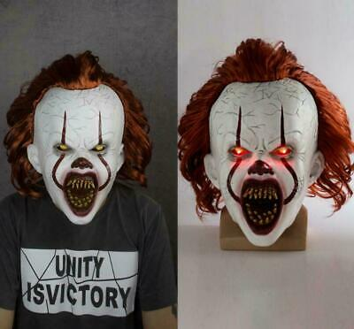 LED Pennywise Mask 2019 It Chapter Two Cosplay Scary Joker Mask Halloween Props