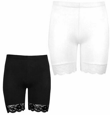 WOMENS SCALLOP LACE TRIM CYCLING SHORTS ACTIVE GYM TIGHTS MICROFIBER HOT PANTS