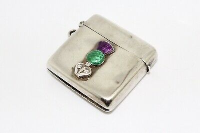 An Antique Victorian C1886 Sterling Silver Scottish Enamelled Vesta Case #14407