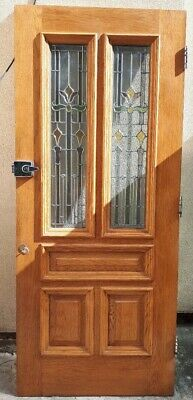 Solid Oak Front Door with Leaded Stained Glass