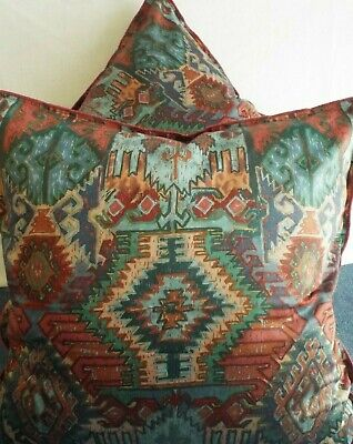 Pair Of 24 Inch Giant Cushion  Green,Rose,Blue And Lilac Aztec Design