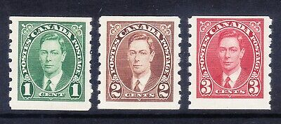 CANADA 1937 GVI SG368/70 set of 3 - Imperf x 8 - lightly mounted mint. Cat £35