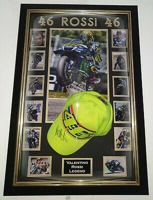 *** Rare VALENTINO ROSSI Signed Autographed CAP HAT Autograph Display ***