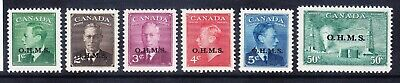 CANADA GVI 1949/50 SG0172/7 set of 6 opt O.H.M.S mounted mint (50c l/m) cat £65