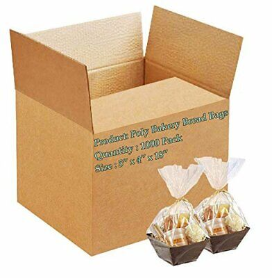 1000 Poly Bakery Bread Bags 5 x 4 x 18 Clear Gusseted Bags