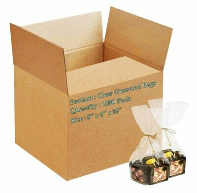 1000 Poly Bakery Bread Bags 8 x 4 x 18 Clear Gusseted Bags