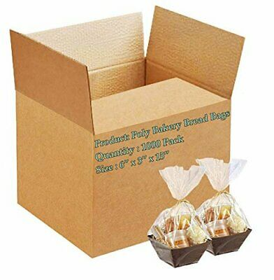 1000 Poly Bakery Bread Bags 6 x 3 x 15 Clear Gusseted Bags 6 x 3