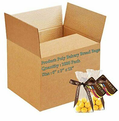 1000 Poly Bakery Bread Bags 6 x 3 x 12 Ultra Thin Clear Gusseted