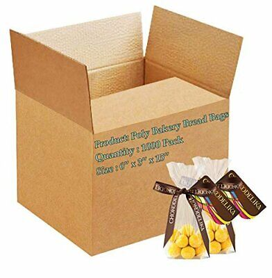 1000 Poly Bakery Bread Bags 6 x 3 x 15 Clear Gusseted Bags