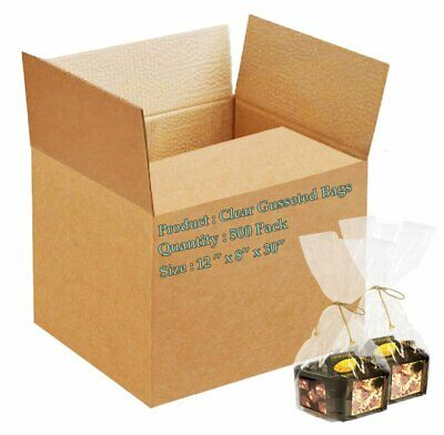 500 Poly Bakery Bread Bags 12 x 8 x 30 Clear Gusseted Bags