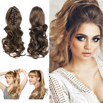 Womens Casual Curly Wavy lONG Ponytail Hairpiece Claw Clip-on Hair Extensions