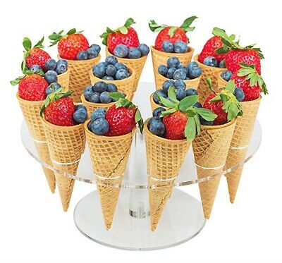 16 Hole Acrylic Ice Cream Cone Holder Chip Cone Holder Counter Top Display Stand