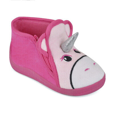 Toddler Girls Pink Unicorn Easy Access Fleece Slipper Booties Child Sizes 4-10