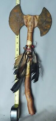Antique Native American Tomahawk 18th / 19th C beads feathers iron rawhide sinew