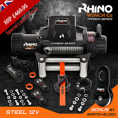 Rhino Winch Electric Recovery, 12v 13500lb Carbon - Heavy Duty 4x4 Steel Cable