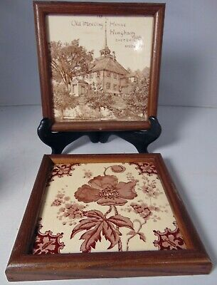 2 Antique English Mintons Ceramic Tiles Hingham 1881 Old Meeting House Poppies