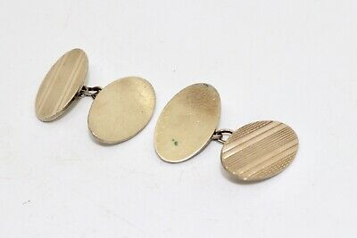A Great Pair of Antique Art Deco 9ct on 925 Sterling Silver Cufflinks #14571