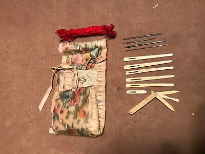 Antique Japanese bovine bone sewing multi tool ribbon needles w/ sleeve steel