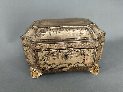 Chinese Export Lacquer Tea Caddy , Xix