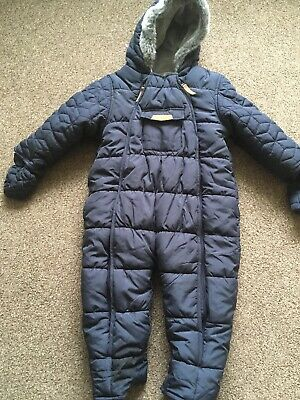 Boys Winter All In One Hooded Navy Blue Snowsuit Coat 18-24 Months Mothercare