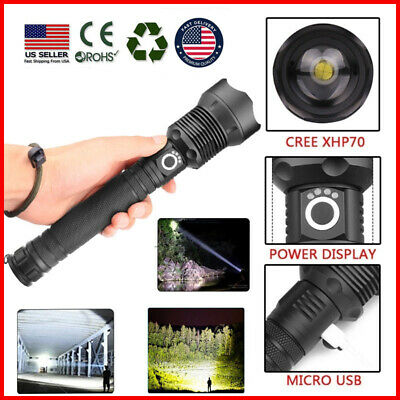600000 Lumens Zoomable XHP70 LED USB Rechargeable Flashlight Torch Super Bright