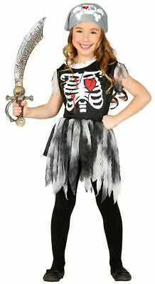 Girls Skeleton Pirate Halloween Fancy Dress Costume + Bandana Childs Outfit