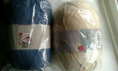 800G Aran Wool Yarn Bnip 2 Colours Beige And Blue Fleck