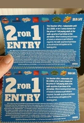2X 2 For 1 Ticket Entry Alton Towers Thorpe Park Sea Life Legoland Chessington