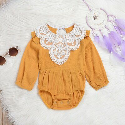 Newborn Toddler Baby Girls Long Sleeve Romper Bodysuit Jumpsuit Outfits